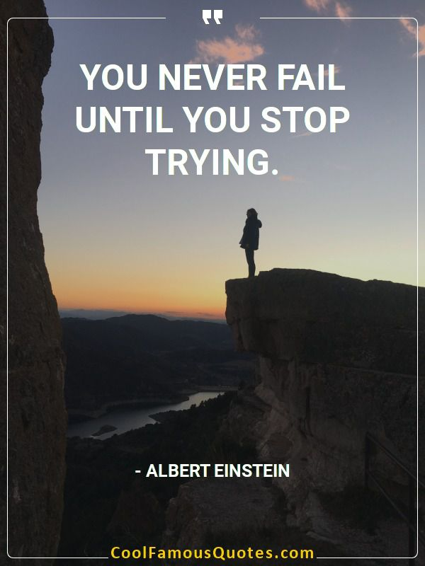 sayings, famous,  albert einstein quotes, You never fail until you stop trying.